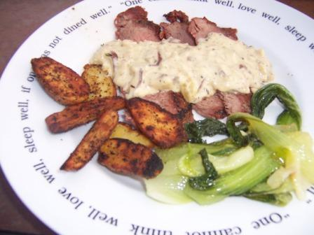Flank steak with shitakee sauce