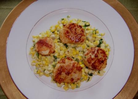 Pan seared scallops with creamy corn