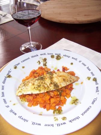 Tilapia loin with a spicy sweet potato hash