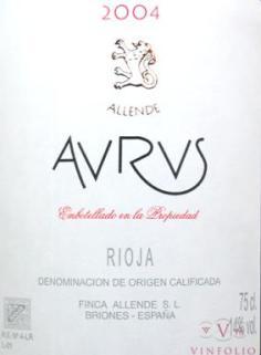 Finca Allende Aurus label