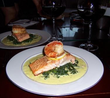 Salmon with Bechamel sauce and sauteed spinach