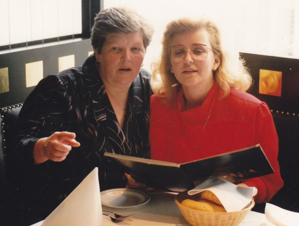 With mom, later in my adult life, treating her with dinner in the nice restaurant