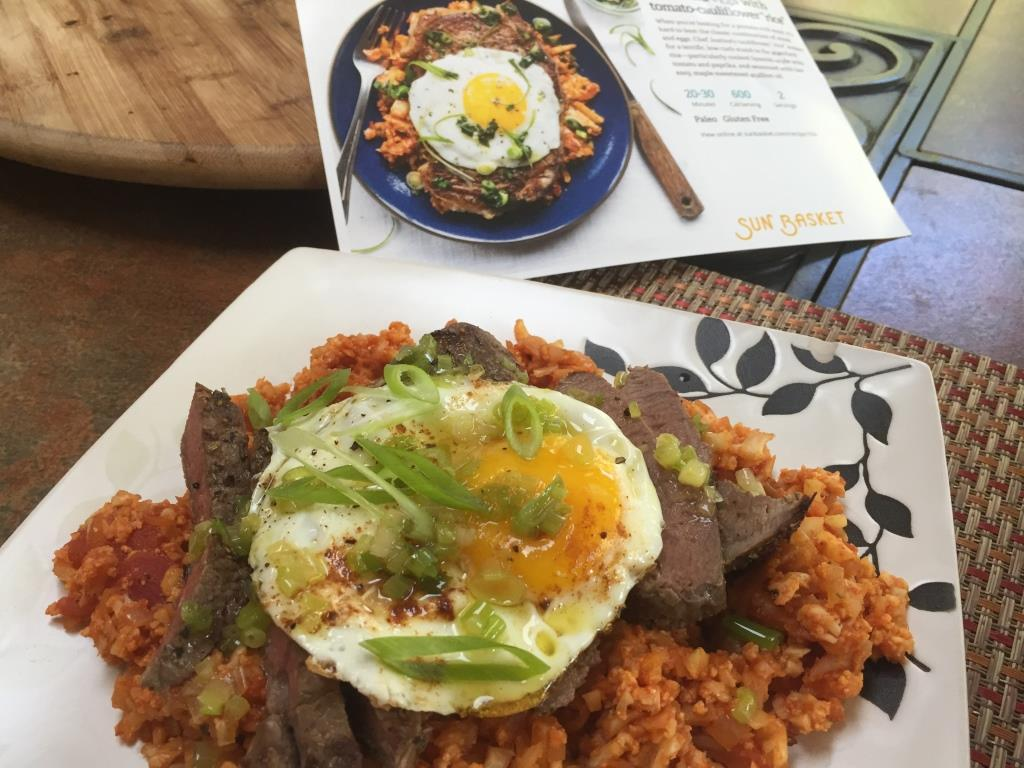Steak with eggs and cauliflower rice